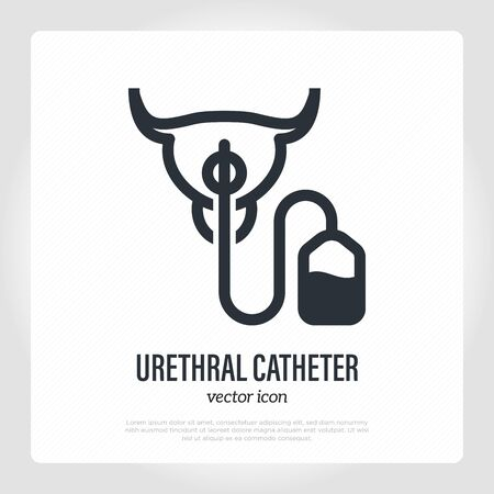 Urethral catheter inserted in urethra. Thin line icon. Medical equipment for catheterization. Vector illustration.
