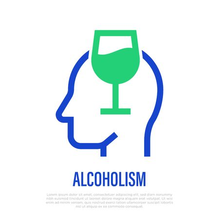 Alcoholism thin line icon: wine glass in human head silhouette. Alcohol addiction. Bad habit. Vector illustration.