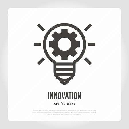 Innovation thin line icon. Cogwheel inside of light bulb. Idea, solution, business development. Vector illustration. Illustration