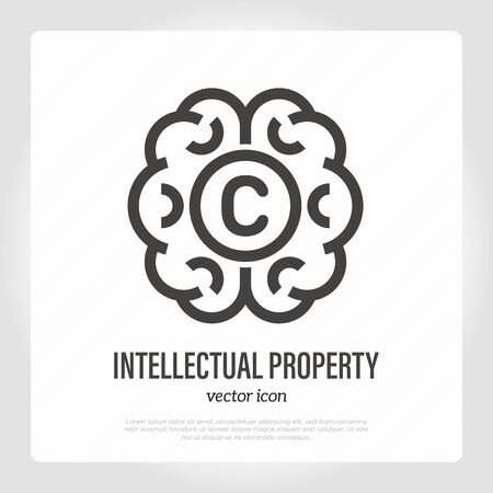 Intellectual property thin line icon. Brain with copyright symbol. Idea protection. Vector illustration.