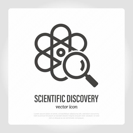 Scientific discovery thin line icon. Model of atom with magnifier. Vector illustration for laboratory research. Illustration