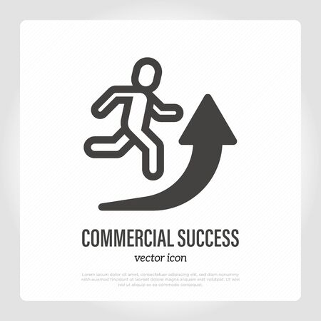 Commercial success. Thin line icon. Man running for arrow upward. Vector illustration.