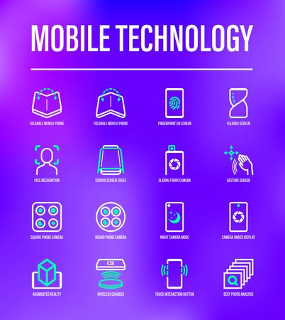 Modern mobile technology thin line icons set. Foldable smartphone, face recognition, curved edges, gesture sensor, sliding front camera, vr, wireless charger, deep photo analysis. Vector illustration.