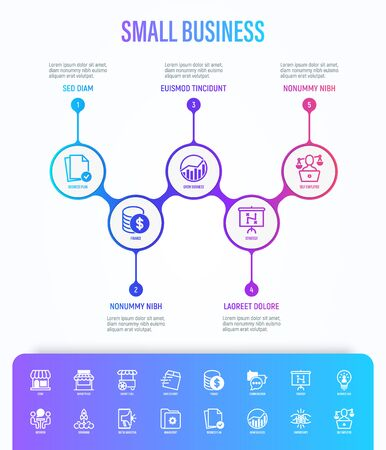 Small business infographics with thin line icons. Symbols of marketplace, market stall, home delivery, job interview, coworking, startup, growth chart, partnership, self employed. Vector illustration Illustration