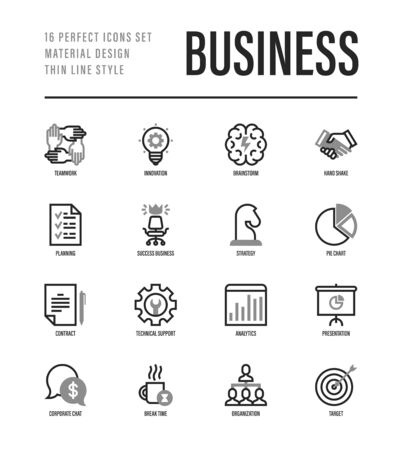 Business thin line icons set. Symbols of success, strategy, finance planning, innovation, brainstorm, technical support, analytics, presentation, contract, target. Vector illustration. Illustration