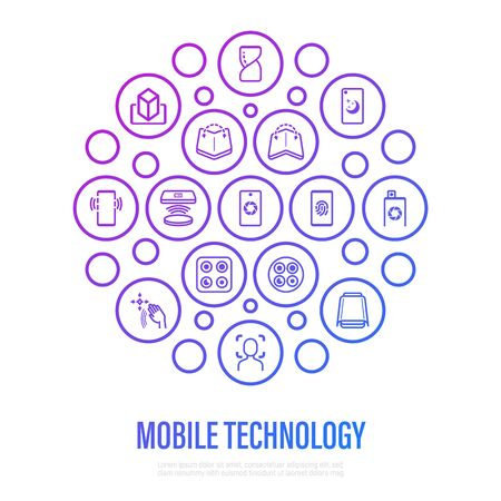 Modern mobile technology concept in circle shape. Thin line icons. Foldable smartphone, face recognition, curved edges, gesture sensor, sliding front camera, vr, wireless charger, deep photo analysis. Vector illustration. Illustration