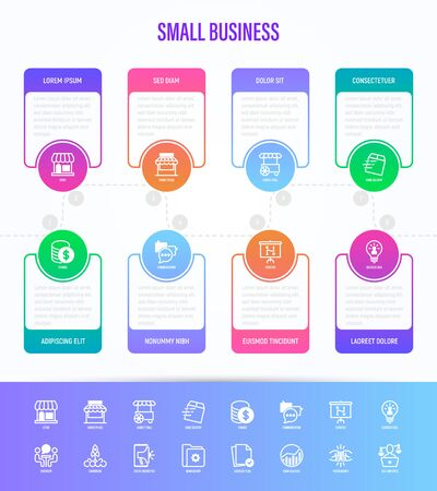 Small business infographics with thin line icons. Symbols of marketplace, market stall, home delivery, job interview, coworking, startup, digital marketing, finance, growth chart, partnership, self employed. Vector illustration. Illustration