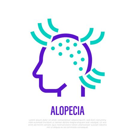 Alopecia thin line icon. Hair loss. Bald place on scalp. Vector illustration.