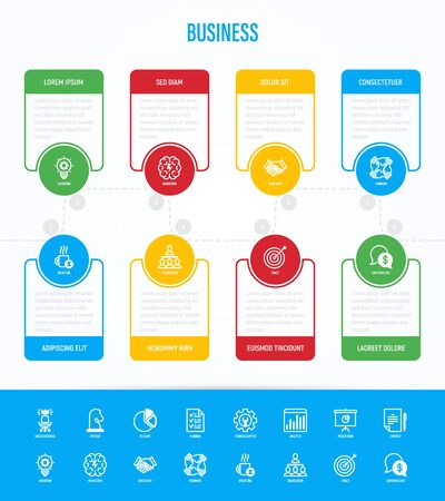 Business infographics with thin line icons. Symbols of success, strategy, finance planning, innovation, brainstorm, technical support, analytics, presentation, contract, target. Vector illustration.