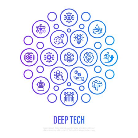 Deep tech concept in circle shape with thin line icons. Symbols of ai, innovation, intellectual property, investment,  quantum computing, photonics, blockchain, robotics. Vector illustration.