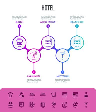 Hotel infographics with thin line icons. Rating, pet allowed, single bed, double bed, elevator, arrival date, departure date, heating, reception. Vector illustration, template with copy space.