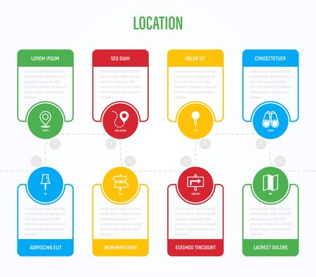 Location and navigation infographics with thin line icons. Symbols of pointer, pin, folded map, compass, route, flag, direction, search, traffic light, globe. Vector illustration.
