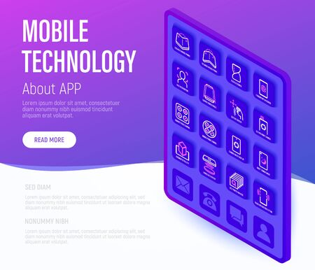 Modern mobile technology web page template. Buttons on tablet with thin line isometric icons. Foldable smartphone, face recognition, curved edges, gesture sensor, sliding front camera, vr, deep photo analysis. Vector illustration. Illustration