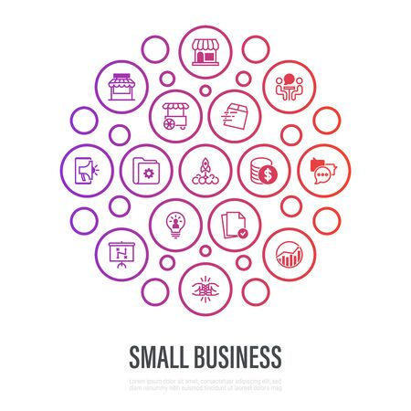 Small business concept in circle shape. Thin line icons. Marketplace, market stall, home delivery, job interview, coworking, startup, digital marketing, finance, growth chart, partnership, self employed. Vector illustration. Illustration