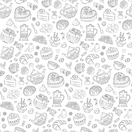 seamless valentine pattern of sweets, hearts and tea elements
