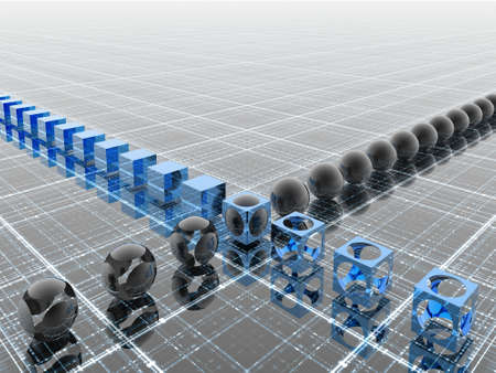 3D industrial blue line (see more in my portfolio)