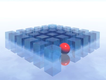 one different red ball in 3d blue boxes Stock Photo - 595322