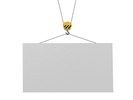 adboard: empty information board and crane Stock Photo