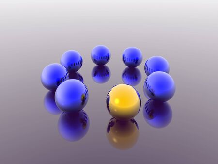 blue and gold 3d spheres Stock Photo