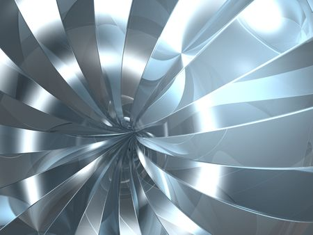 hazy: 3D chrome reflection swirl in future tunnel