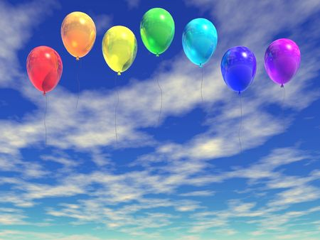 rainbow ballons (see more in my portfolio) Stock Photo