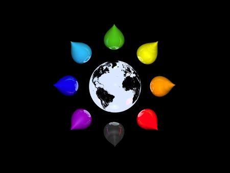monde gris et gouttes d'encre couleur