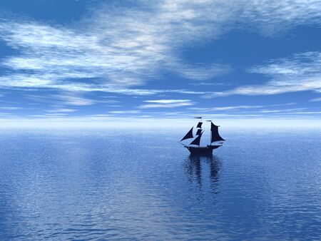 blue sky and ocean whith silhouette of old sailboat