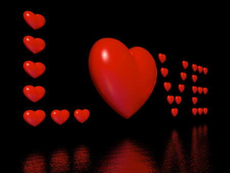 word love from red 3d hearts photo