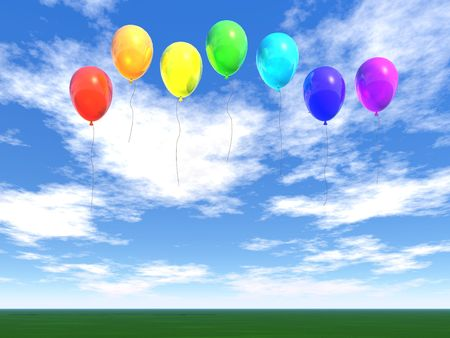 rainbow balloons in blue sky (see more in my portfolio) Stock Photo