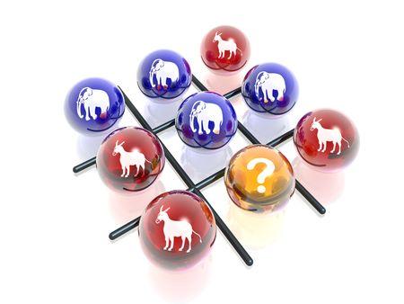 democrats: 3D political crosses & naughts