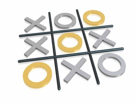 3D render noughts and crosses