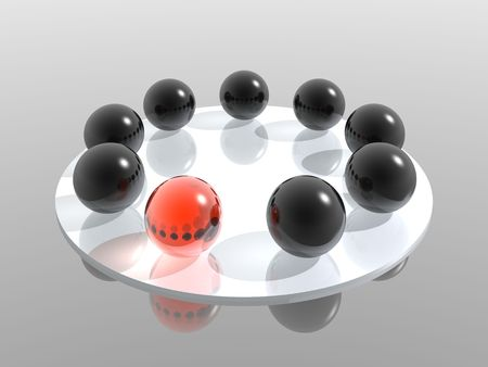 group of glass spheres with different element photo