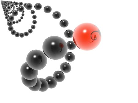 3D black helix and red element Stock Photo