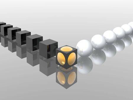 cubes and spheres amalgamation (hight resolution 3D)