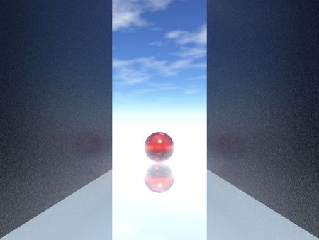 doorway & red sphere (hires 3d image)