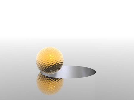 3D golf ball and hole Stock Photo