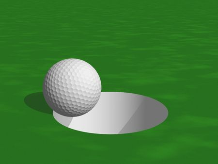 putting green: 3D golf ball and hole Stock Photo