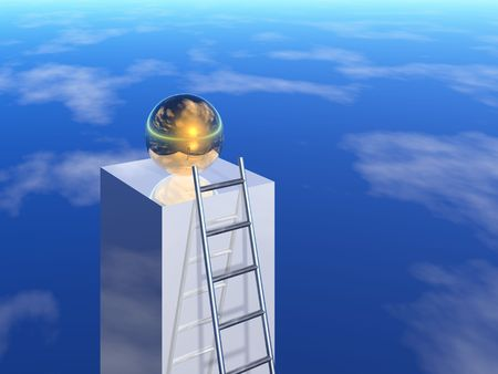 first steps: ladder to success (3d image)
