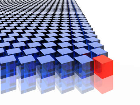 many blue cubes and one red Stock Photo
