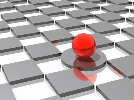 cercle rouge dans la perspective de gris