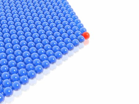 domination: red leader of balls group (hires 3D image) Stock Photo