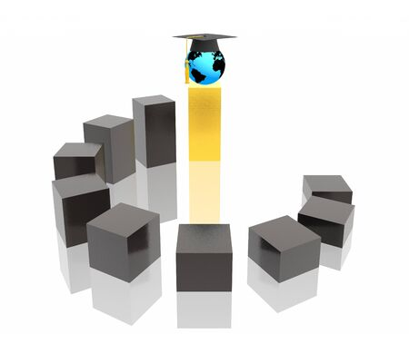 high contrast: education stairway (hi res 3d image)