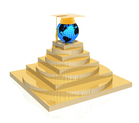 3D gold education pyramid with neon globe