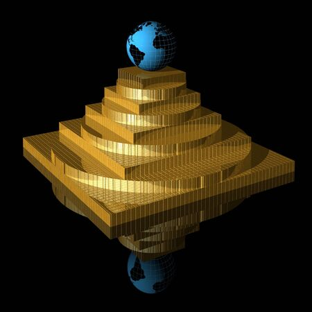 3D gold pyramid with blue globe photo