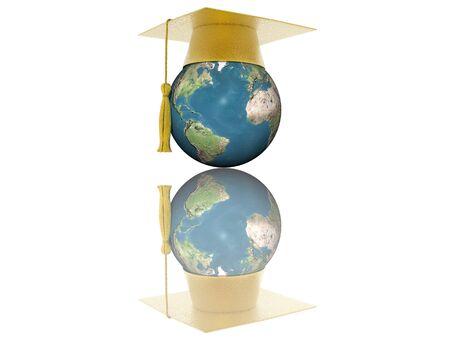 golden globe: 3D globe with graduation cap