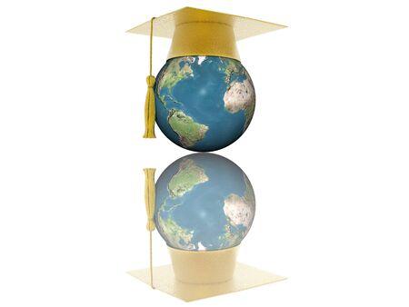 3D globe with graduation cap