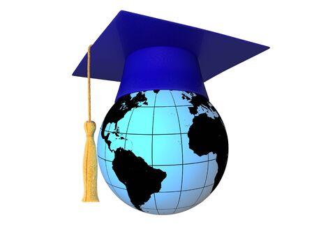 finishing school: 3D globe with graduation cap