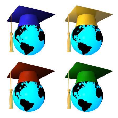 3D Globes avec dipl�me bouchon  Banque d'images
