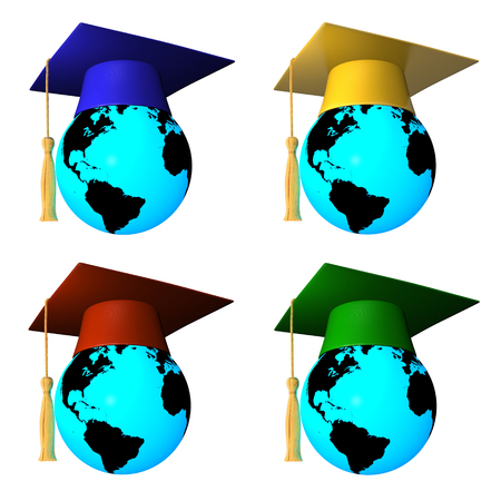 3D globes with graduation cap photo