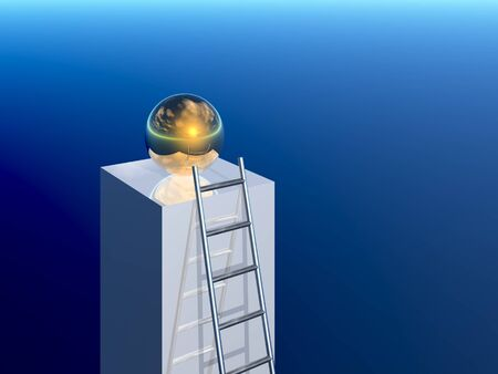 clambering: ladder to success (3d image)
